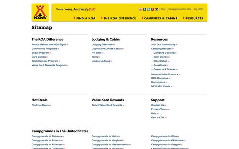 Screenshot of Site Map Page koa.com - Sitemap | KOA Campgrounds - captured Sept. 18, 2014