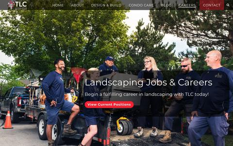 Screenshot of Jobs Page tlc.ca - Landscaping Careers in London, Ontario | TLC Landscaping - captured Oct. 18, 2018