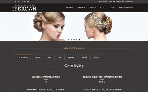 Screenshot of Services Page charlesifergan.com - Spa,Haircut and Hair Color Salon Services Oakstreet, Chicago - captured July 25, 2017