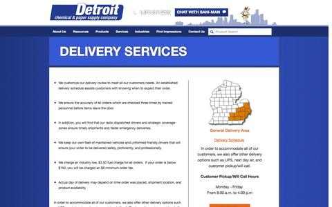 Screenshot of Services Page detroitchemical.com - Delivery Services | Detroit Chemical - captured Oct. 5, 2014