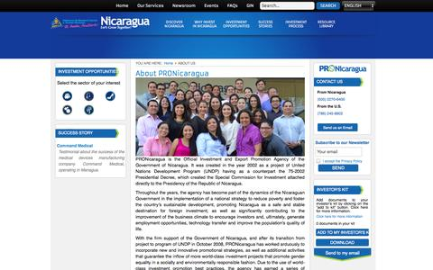 Screenshot of About Page pronicaragua.org - PRONicaragua - About Us - captured Oct. 1, 2014