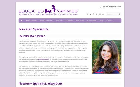Screenshot of About Page educatednannies.com - Educated Specialists - Educated Nannies - captured May 15, 2017