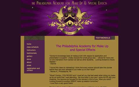 Screenshot of Testimonials Page pamuse.com - Testimonials - captured Oct. 6, 2014