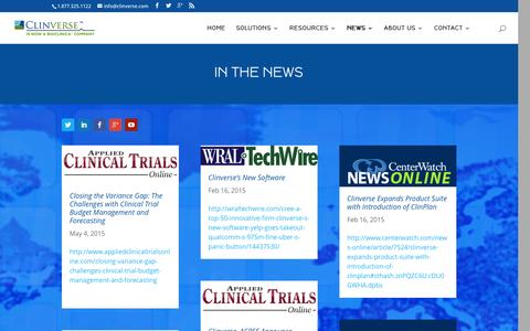 Screenshot of Press Page clinverse.com - In The News - Clinverse - captured Jan. 29, 2016