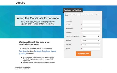 """Screenshot of Landing Page jobvite.com - [Webinar] """"Acing the Candidate Experience"""" presented by Gerry Crispin, December 8 11am PT - captured Feb. 10, 2017"""