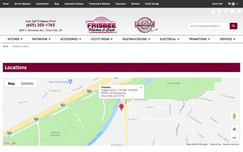 Screenshot of Contact Page Locations Page frisbeesinc.com - Plumbing, Heating and Hardware in Sioux Falls, Harrisburg and Brandon SD | Frisbees - captured Nov. 14, 2018