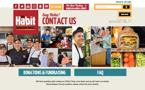 Screenshot of Contact Page habitburger.com - Say Hello! Contact Us | Habit Burger - captured Nov. 8, 2018