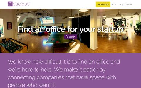 Screenshot of Home Page spaciousapp.com - Find the perfect office space for your startup in London | Spacious - captured Sept. 19, 2014