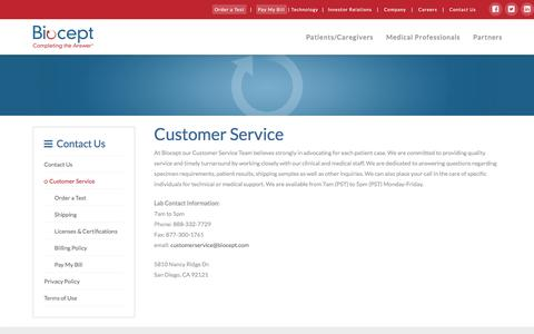 Screenshot of Support Page biocept.com - Contact our Customer Service | Biocept - captured Nov. 22, 2016