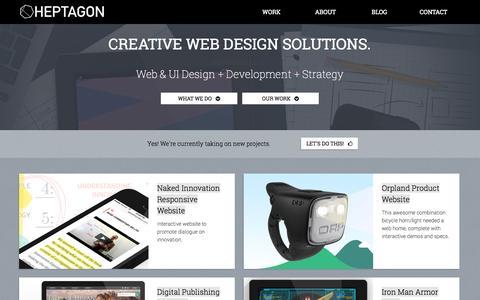 Screenshot of Home Page About Page heptagoncreative.com - Heptagon Creative | Portland Web Design - captured Sept. 30, 2014