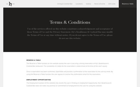 Screenshot of Terms Page hyssteakhouse.com - Hy's Steakhouse & Cocktail Bar — Terms & Conditions - captured Nov. 15, 2016