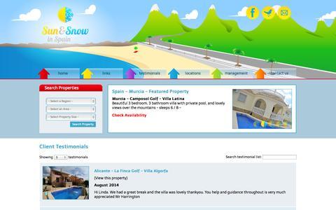 Screenshot of Testimonials Page sunandsnowinspain.com - Client Testimonials - captured Oct. 3, 2014