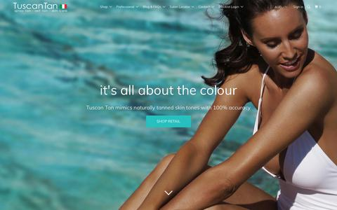 Screenshot of Home Page tuscantan.com.au - Tuscan Tan professional spray tan solutions and self tan range - captured Oct. 24, 2017