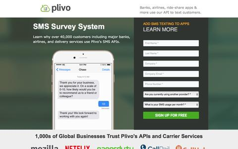 Screenshot of Landing Page plivo.com - SMS Text Survey System with Plivo's SMS API - captured July 15, 2016