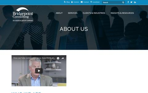 Screenshot of About Page bridgepointconsulting.com - Management Consulting Firm - Bridgepoint Consulting - captured Oct. 6, 2018