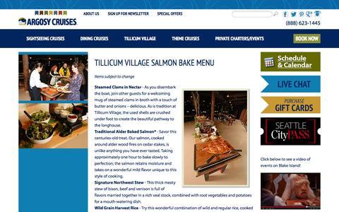 Screenshot of Menu Page argosycruises.com - Tillicum Village Salmon Bake Menu - captured Sept. 23, 2014