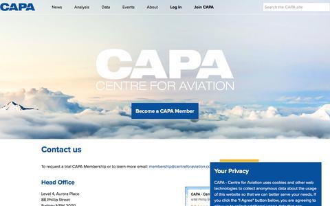 Screenshot of Contact Page centreforaviation.com - Contact Us | CAPA - captured May 22, 2018