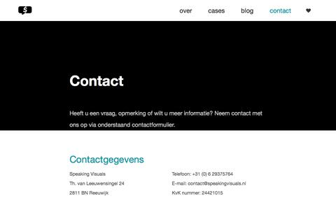 Screenshot of Contact Page speakingvisuals.nl - Contact | Speaking Visuals - captured Nov. 3, 2017