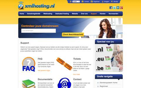 Screenshot of Support Page xmlhosting.nl - XML Hosting, Domeinregistratie, Webhosting en Dedicated Hosting - captured Sept. 23, 2014