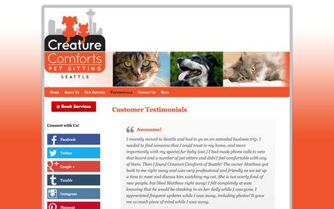 Screenshot of Testimonials Page creaturecomfortsseattle.com - Customer Testimonials for Creature Comforts Pet Sitting of Seattle - captured Oct. 3, 2014