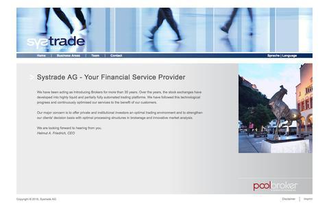 Screenshot of Home Page systrade.com - Systrade AG - captured Sept. 25, 2017