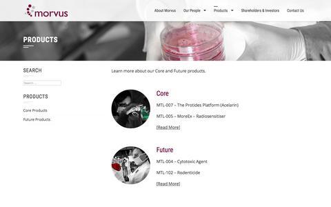 Screenshot of Products Page morvus.com - Products – Morvus - captured Oct. 21, 2017