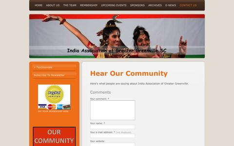 Screenshot of Testimonials Page iagg.org - India Association of Greater Greenville - Testimonials - captured June 17, 2016