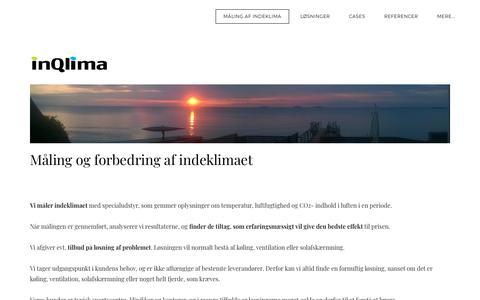 Screenshot of Home Page inqlima.dk - Måling af indeklima - captured Sept. 20, 2018