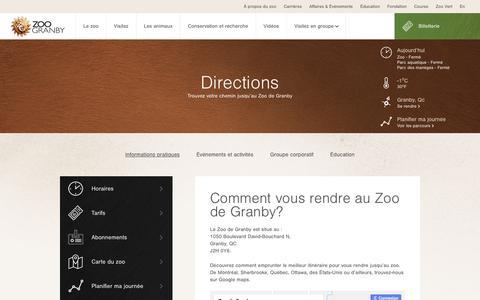 Screenshot of Maps & Directions Page zoodegranby.com - Zoo de Granby – Directions et itinéraire vers le zoo - Zoo de Granby - captured March 15, 2018