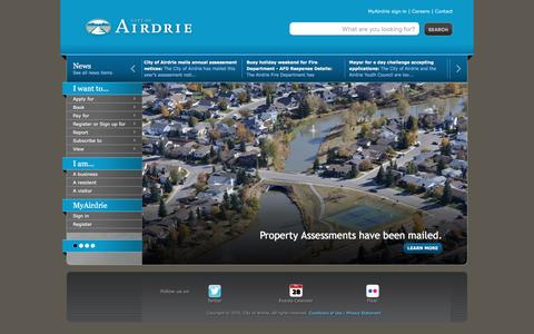 Screenshot of Home Page airdrie.ca - City of Airdrie - Home Page - captured Jan. 28, 2016