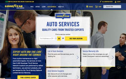 Screenshot of Services Page goodyear.com - Auto Services | Goodyear Tires - captured March 29, 2016