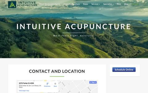 Screenshot of Contact Page intuitive-acupuncture.com - Intuitive Acupuncture: Contact - How to find - captured Sept. 19, 2018