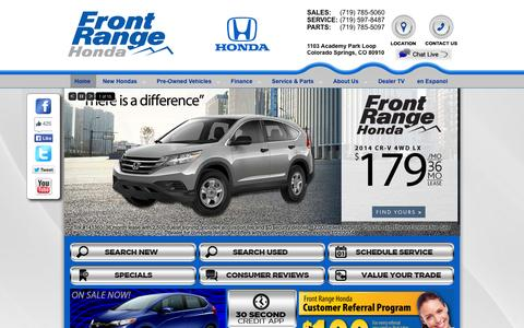 Screenshot of Home Page frontrangehonda.com - Honda Dealer Colorado Springs | Front Range Honda Serving Colorado - captured Sept. 30, 2014