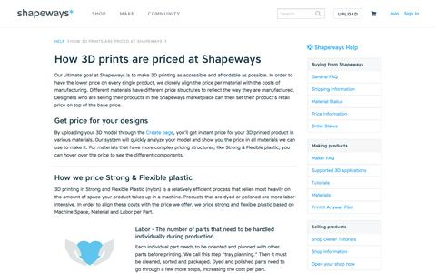 Screenshot of Pricing Page shapeways.com - How 3D prints are priced at Shapeways - Shapeways - captured Jan. 19, 2017