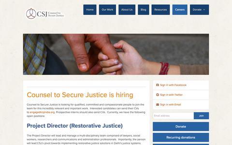 Screenshot of Jobs Page csjindia.org - CSJ is hiring - captured Sept. 29, 2018