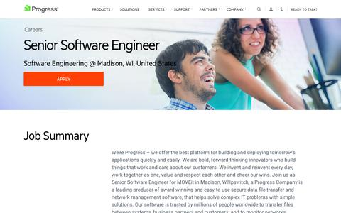 Screenshot of Jobs Page progress.com - Senior Software Engineer, Software Engineering @ Madison, WI, United States - Progress Careers - captured July 17, 2019