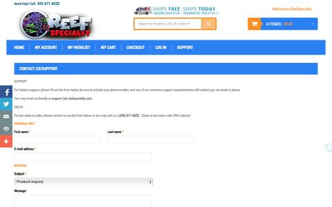 Screenshot of Support Page reefspecialty.com - Contact Us Saltwater Aquarium Supplies, Aquarium LED Lighting and Protein Skimmers - 435-671-6522 - captured Oct. 1, 2014