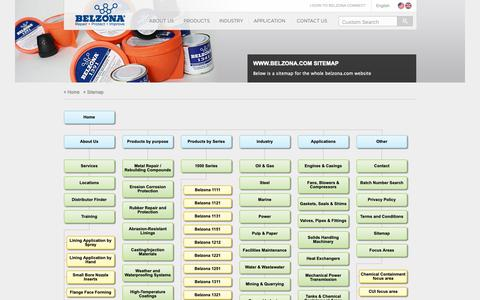 Screenshot of Site Map Page belzona.com - www.belzona.com Sitemap showing all available pages - captured Oct. 5, 2018