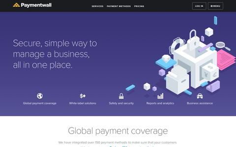 Screenshot of Services Page paymentwall.com - Services - Paymentwall - captured May 6, 2018