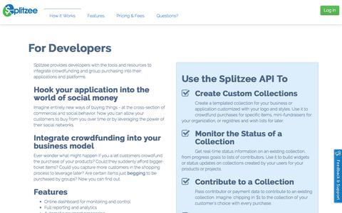 Screenshot of Developers Page splitzee.com - Developers | Splitzee - captured Nov. 5, 2014