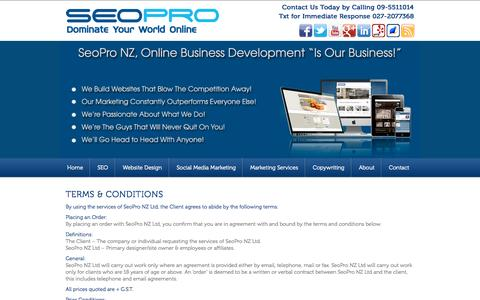 Screenshot of Terms Page seopro.co.nz - Terms & Conditions | Terms & Conditions of SeoPro NZ - captured Oct. 3, 2014