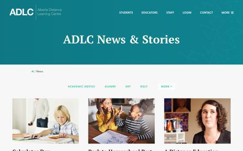 Screenshot of Press Page adlc.ca - News | Alberta Distance Learning Centre | ADLC - captured Oct. 7, 2017