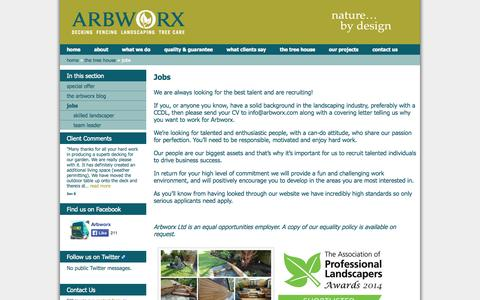 Screenshot of Jobs Page arbworx.com - Jobs » 	Arbworx - captured Oct. 4, 2014