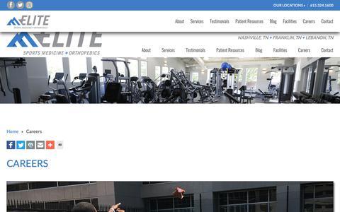 Screenshot of Jobs Page eliteorthopaedic.com - Careers at Elite Sports Medicine + Orthopedics in Nashville Franklin - captured Sept. 27, 2018