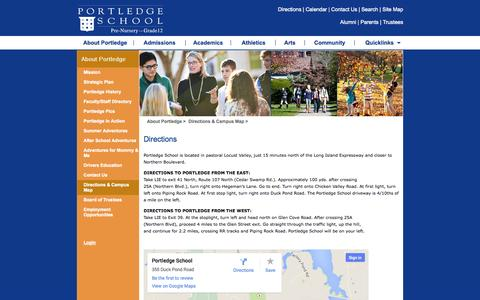 Screenshot of Maps & Directions Page portledge.org - Portledge School -> About Portledge -> Directions & Campus Map - captured Oct. 2, 2014