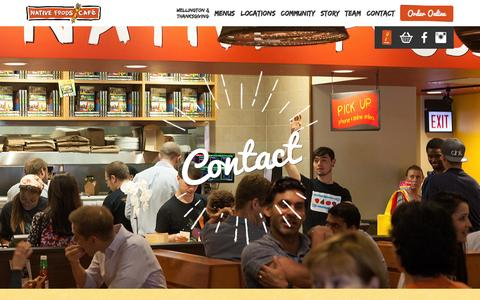 Screenshot of Contact Page nativefoods.com - Native Foods Café - captured Nov. 2, 2014