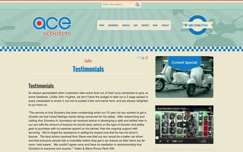 Screenshot of Testimonials Page acescooters.com.au - Testimonials - Ace Scooters - captured Sept. 30, 2014