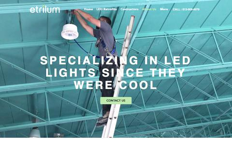 Screenshot of About Page etrilum.com - Etrilum Light Inc. - Eastern Ontario's LED lighting solution provider | About Us - captured Aug. 29, 2017