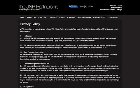 Screenshot of Privacy Page jnp.co.uk - Privacy Policy | JNP - captured Oct. 4, 2014