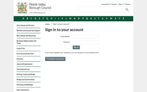 Screenshot of Login Page ribblevalley.gov.uk - Sign in to your account | Ribble Valley Borough Council - captured Oct. 26, 2014